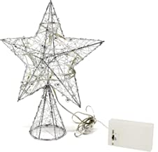 CVHOMEDECO. Silver Flickering Tree Top Star with Bright White LED Lights and Timer for Christmas Ornaments and Holiday Sea...