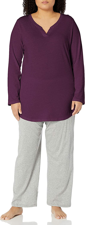 JUST MY SIZE Women's Plus Size Split Neck Tunic