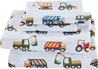 Linen Plus Twin Size 3pc Sheet Set for Kids Construction Tractors White Blue Red Green Yellow Grey
