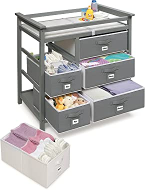 Modern Baby Changing Table with 6 Storage Baskets and Pad