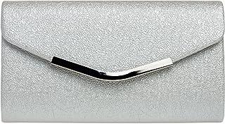 Caspar TA370 elegante Damen Clutch Tasche Abendtasche mit langer Kette