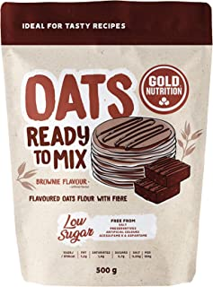 GoldNutrition High Fiber, Powdered, Vegan, Lactose Free Instant Oats Ready to Mix - 500g (Brownie)