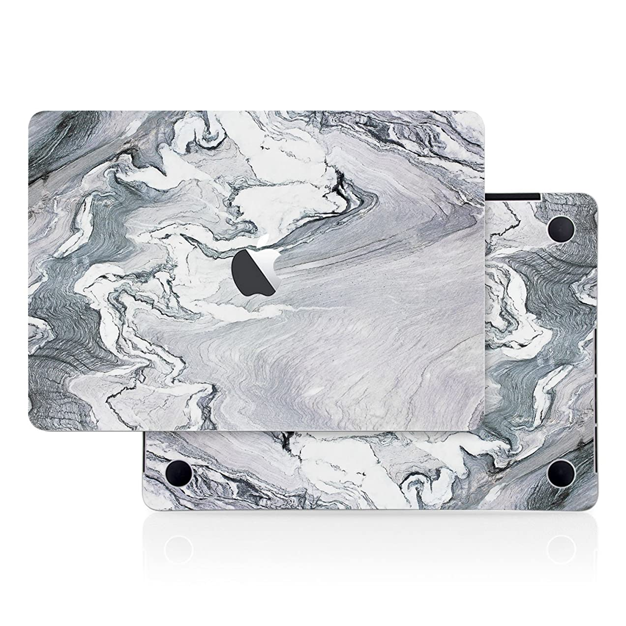 Silver Gray Marble Stone Texture Skin Decal (4-in-1) Full-Size 360° Protector Cover Apple MacBook Pro 15 Inch A1707 A1900 (2016 2017 2018 2019 Model with & w/o Touch Bar & ID) Black Keyboard Cover