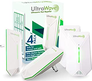 ULTRAWAVE Ultrasonic Pest Repeller with Motion Sensor | 4 Pack | Easy and Safe to Reject Rodents Ants Cockroaches Spiders Bed Bugs Mice Rats | Eco-Friendly Non-Toxic Device | Newest Technology