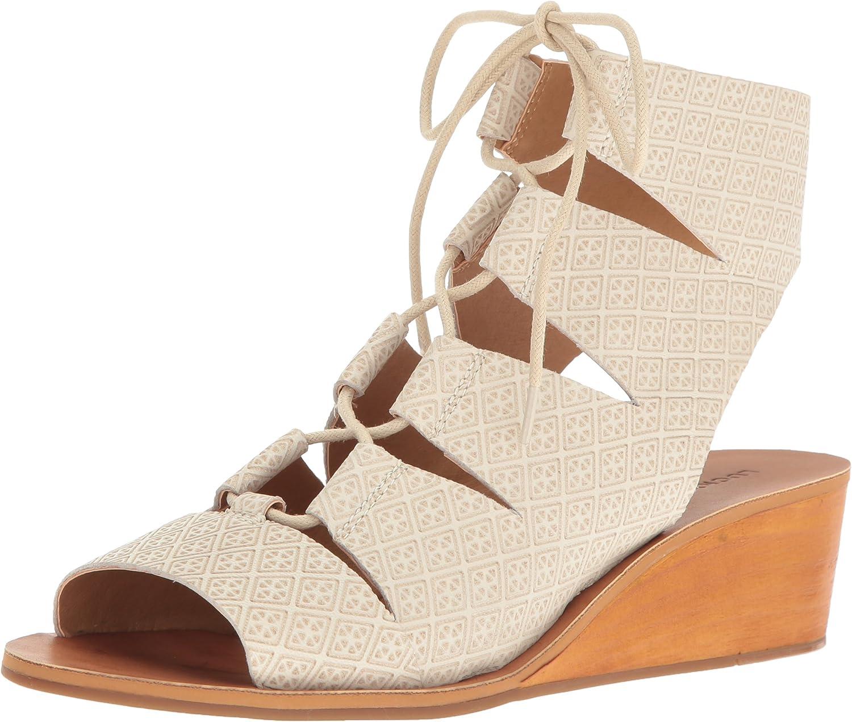 b5bce766a457df Lucky Brand Frauen Gizi Peep Toe Leger Leder Sandalen Sandalen Sandalen mit  Keilabsatz 2f2353 AN DKU02418
