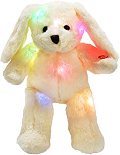 WEWILL LED Bunny Stuffed Animals Glow Rabbit with Floppy Long Ears Nightlight in Dark Gift for Kids on Birthday Christmas, 18-Inch