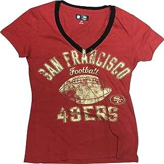 NFL San Francisco 49ers Women's Distressed V-Neck T-Shirt Red