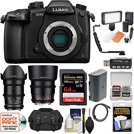 $1999 Get Panasonic Lumix DC-GH5 Wi-Fi 4K Digital Camera Body with 35mm & 85mm T/1.5 Lenses + 64GB Card + Case + Video Light + Battery Kit