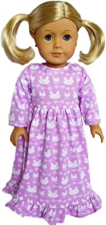 Brittany's My Lavender Bunny Nightgown Compatible and Fits American Girl Dolls- 18 Inch Doll Clothes