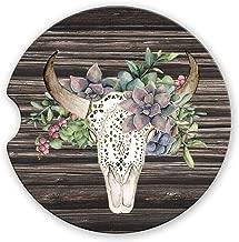 Western Boho Green Succulent Bull Skull Sandstone Car Coasters Brown Wood Background, Set of 2