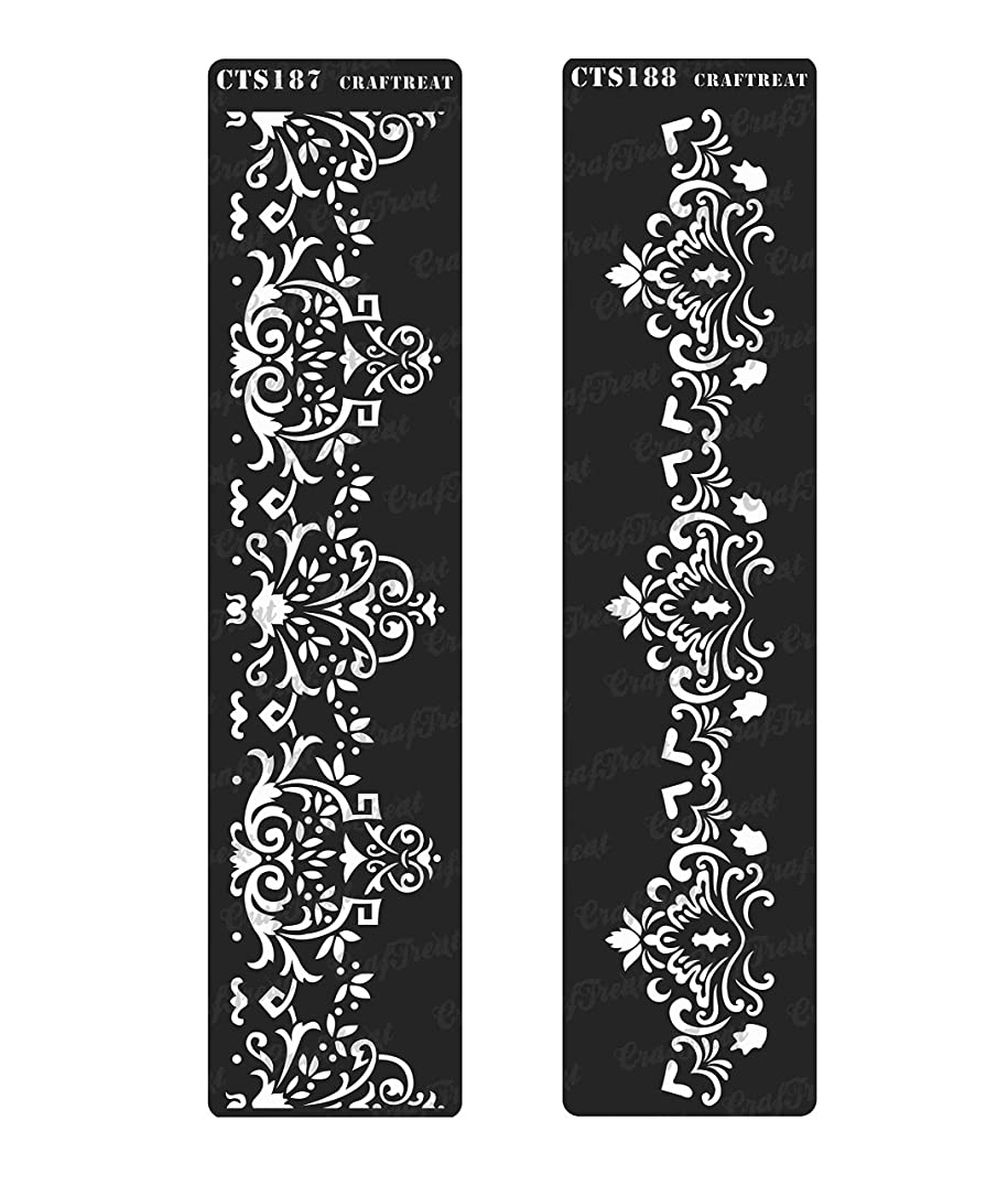 CrafTreat Stencil - Border 1 & 2 (2 pcs) | Reusable Painting Template for Home Decor, Crafting, DIY Albums and Printing on Paper, Floor, Wall, Tile, Fabric, Wood 3