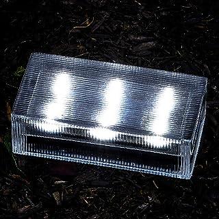 Solar Brick Outdoor Light - 8x4 Large Glass Paver, Striped Texture, 6 Cool White LED Lights, Waterproof, Landscape Lightin...
