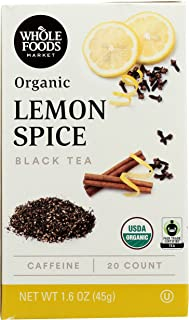 Whole Foods Market, Organic Black Tea, Lemon Spice (20 Count), 1.6 Ounce