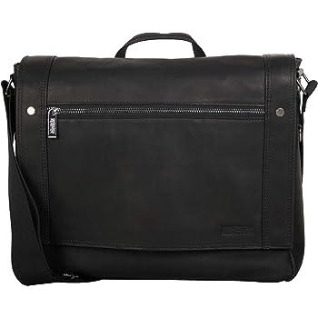"Kenneth Cole Reaction Men's Mess Essentials' Colombian Leather Business 15.6"" Laptop Messenger Bag, Black, One Size"