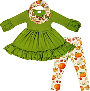 AMK Toddler Little Girls Fall Colors Vintage Floral Outfit Set with Infinity Scarf
