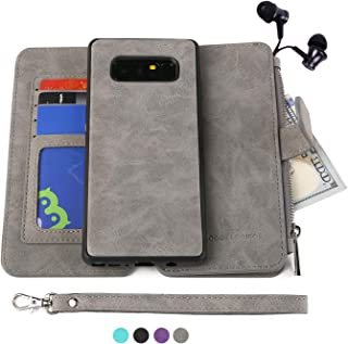 Modos Logicos Galaxy Note 8 Case, [Detachable Wallet Folio][2 in 1][Zipper Cash Storage][Up to 14 Card Slots 1 Photo Window] Premium PU Leather Purse with Removable Inner Magnetic TPU Case - Grey