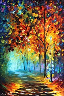 Colorful Art Forest Painting On Canvas By Leonid Afremov Studio - Fog Alley
