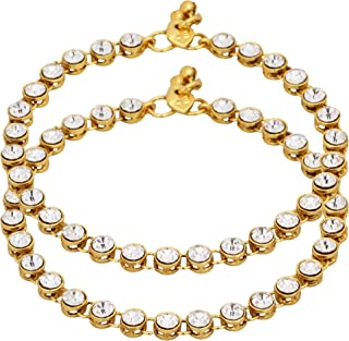 Nishivjewels Metal Brass & stone Payal Anklet for Women (White)
