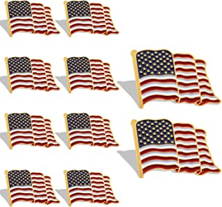 Flag Lapel Pin - Waving US Flag Pins Patriotic American Emblem - Exquisite Enamel & Vivid Color & Lightweight & Durable - 1 Pin and 10 Pins