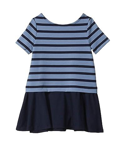 Polo Ralph Lauren Kids Striped Stretch Ponte Dress (Toddler) (Hunter Navy/Capri Blue) Girl