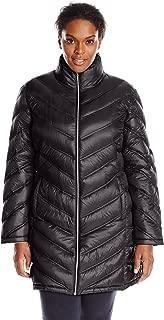 Calvin Klein Women's Plus-Size Chevron-Quilted Packable Down Coat Plus