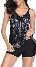 Urban Virgin Womens Two Piece Tankini Sets Swimwear Spaghetti Printed Padded Tank Top Swimsuits for Women