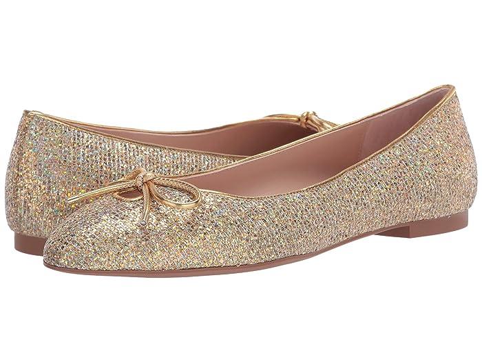 60s Shoes, Boots Stuart Weitzman Gabby Bow Flat Gold Disco Womens Flat Shoes $195.00 AT vintagedancer.com