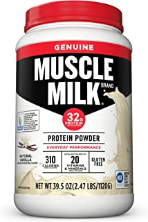 Muscle Milk Genuine Protein Powder, Natural Vanilla, 32g Protein, 2.47 Pound, 16 Servings