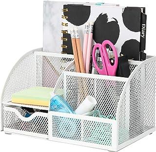Exerz Desk Organiser/Mesh Desk Tidy/Pen Holder/Multifunctional Organizer - White