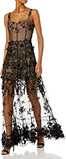 Dress the Population Women's Annabel 3D Floral Illusion Long Gown