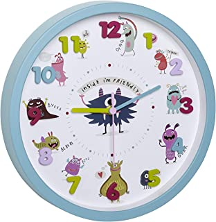 TFA Dostmann Wall Clock for Kids, 60.3051.20, non ticking, easy to learn the time, battery operated, turquoise, (L) 309 x...