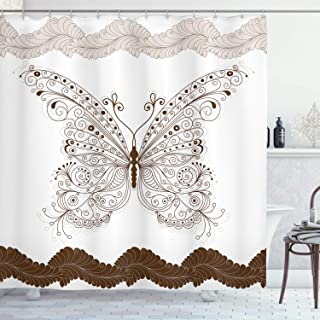 Ambesonne Butterfly Shower Curtain, Butterfly Artwork with Swirled Wings Vintage Ornate Fashion Style Print, Cloth Fabric Bathroom Decor Set with Hooks, 75