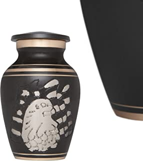 Funeral Urn by Liliane - Keepsake Cremation Urn for Human Ashes - Hand Made in Brass and Hand Engraved - Fits a Small Amount of Cremated Remains - Display Burial Urn at Home or in Niche at Columbarium - American Eagle