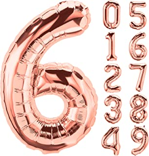Rose Gold Number Balloons 32 Inch Giant Jumbo Helium Mylar Foil Mylar for Party Decorations, Party Supplies for Confession...