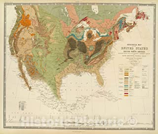 Historic Map - Geol. map U.S, 1856 - Vintage Wall Art - 44in x 37in