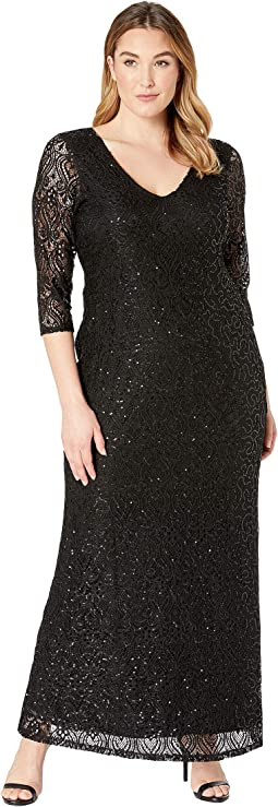 Plus Size Stretch Sequin Lace 3/4 Sleeve Gown