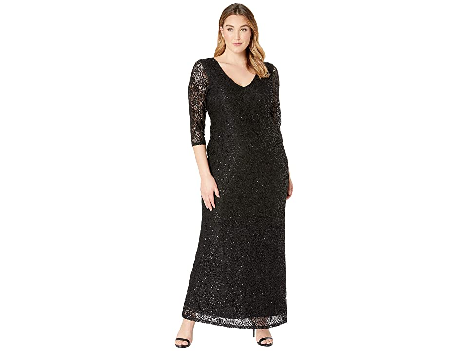 MARINA Plus Size Stretch Sequin Lace 3/4 Sleeve Gown (Black) Women
