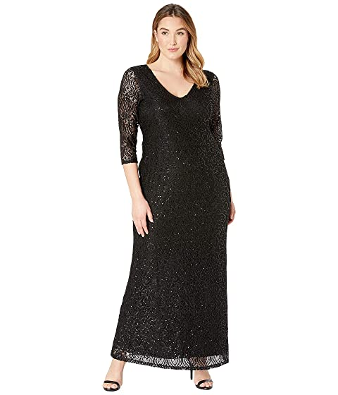 MARINA Plus Size Stretch Sequin Lace 3/4 Sleeve Gown, Black