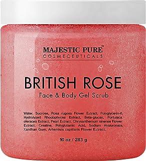 مقشر الوجه والجسم بالورد البريطاني من ماجستيك بيور - مقشر جل لطيف يقشر ويرطب الوجه والبشرة - يجدد وينعش البشرة - 10 اونصة