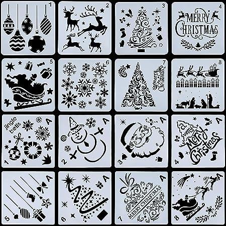 16 Pièces Modèle de Pochoirs de Noël Réutilisable Modèles de Dessin en Plastique Artisanat pour Art Dessin Peinture Pulvérisation Fenêtre Porte en Verre De Voiture Corps