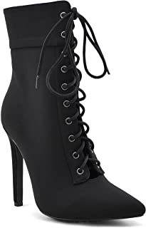 Women's Pointed Toe Ankle Booties Lycra Lace Up Side Zipper Pencil Stiletto Heel Boots