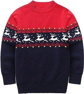 dc1614a4b492 FEOYA - Ropa de Punto Navidadeño para Niñas Niños de Algodón Suéter Dibujos  de Otoño Invierno