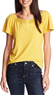 CECE Womens Yellow Lace Short Sleeve Boat Neck Top AU Size:10