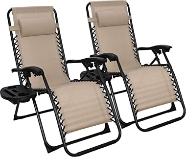 SUPER DEAL Set of 2 Reclining Lounge Chair Adjustable Zero Gravity Chair with Pillow and Utility Tray - Folding Recliners for