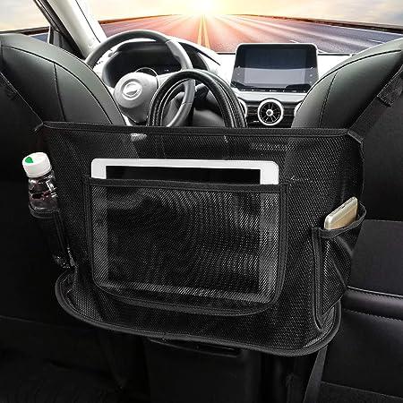 Car Net Pocket Handbag Holder Organizer Hanging Storage Bag Between Car Seats Black Leather Seat Back Organizer Large Capacity Bag