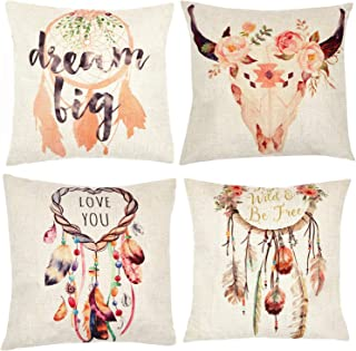 ZUEXT Dream Catcher Decorative Throw Pillow Covers 18 x 18 Inch Bohemian Style, Set of 4 Cotton Linen Spring Floral Square Pillowcases for Car, Bed, Cushion, Boho Theme Birthday Party Home Decoration