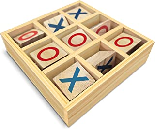 Gamie Wooden Tic-Tac-Toe Game, Small Travel Game with Fixed Spinning Pieces, Classic Wood Game for Kids, Fun Indoor Game N...