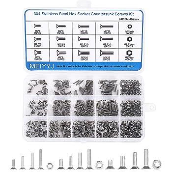 304 Stainless Steel Hilitchi 460-Piece Metric M3 M4 M5 Hex Socket Flat Head Countersunk Bolts Screw Nut Assortment Kit