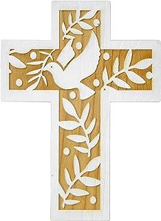 HolyRoses Croix murale en bois dolivier fabriqu/ée /à la main /à Bethl/éem 14 marron