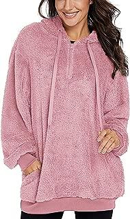 Amormio Women's Fuzzy Quarter Zip Sherpa Fleece Pullover Sweatshirt Shearling Hoodies Coats